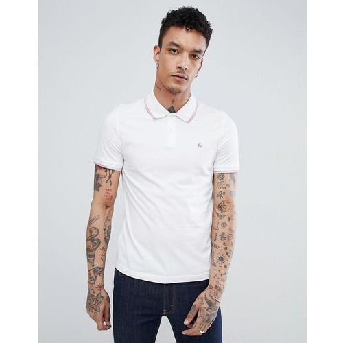 Original penguin space dye tipping polo slim fit embroidered logo in white - white
