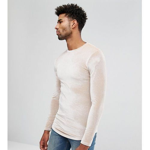 Asos  tall longline muscle long sleeve t-shirt in velour with curved hem in beige - beige