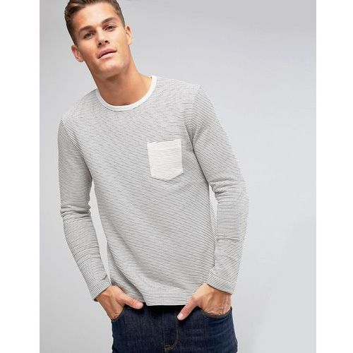 Selected Homme Long Sleeve Top in Textured Stripe with Contrast Pocket - Cream