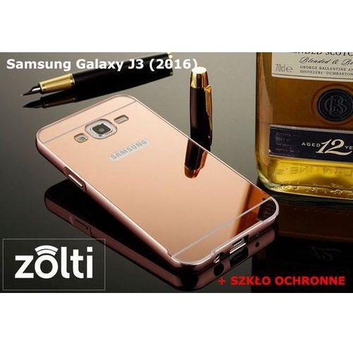 Zestaw   Mirror Bumper Metal Case Różowy + Szkło ochronne Perfect Glass   Etui dla Samsung Galaxy J3 (2016) - produkt z kategorii- Futerały i pokrowce do telefonów