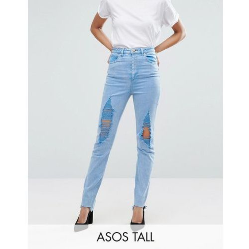 Asos tall  farleigh high waist slim mom jeans in fran light mottled wash with super busts and stepped hem - blue