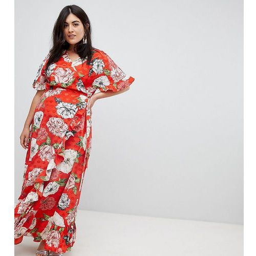 ASOS DESIGN Curve ruffle wrap maxi dress in floral jacquard - Multi