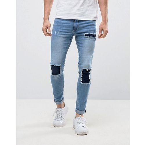 super skinny jeans with patch detail in mid blue wash - blue, New look
