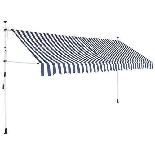 Vidaxl markiza zwijana ręcznie, 400 cm, niebiesko-białe pasy (8718475507871)