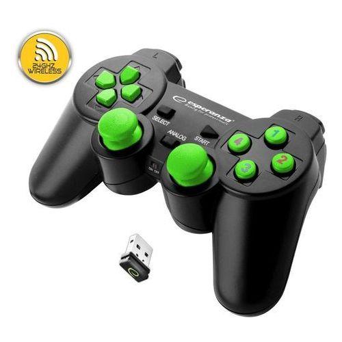 """Gamepad bezprzewodowy 2.4GHZ PS3/PC USB Esperanza """"Gladiator"""" czarno/zielony, EGG108G"""