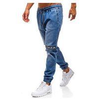 Spodnie jeansowe joggery męskie niebieskie Denley 2031, jeansy
