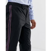 Burton menswear slim fit trousers with side stripe in black - black