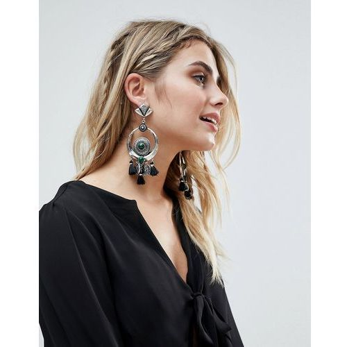 design statement engraved disc and crescent stone tassel earrings - silver marki Asos