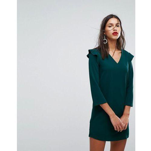 Mango frill shoulder v-neck dress - green