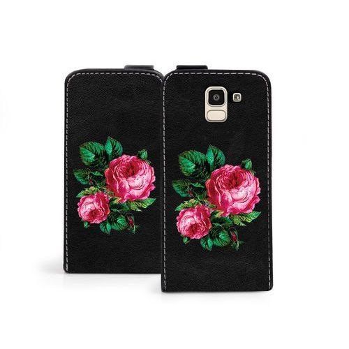 Samsung galaxy j6 - etui na telefon flip fantastic - czerwone róże marki Etuo flip fantastic