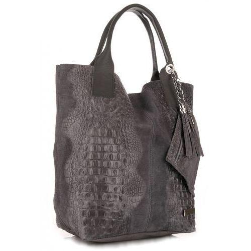 Torebki Skórzane VITTORIA GOTTI Made in Italy Shopper bag Aligator Szara (kolory)