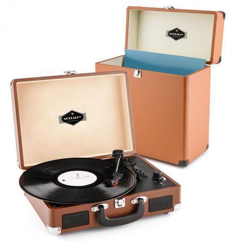 Peggy sue record collector | gramofon w stylu retro z walizką na płyty winylowe | zestaw w kolorze brązowym marki Auna