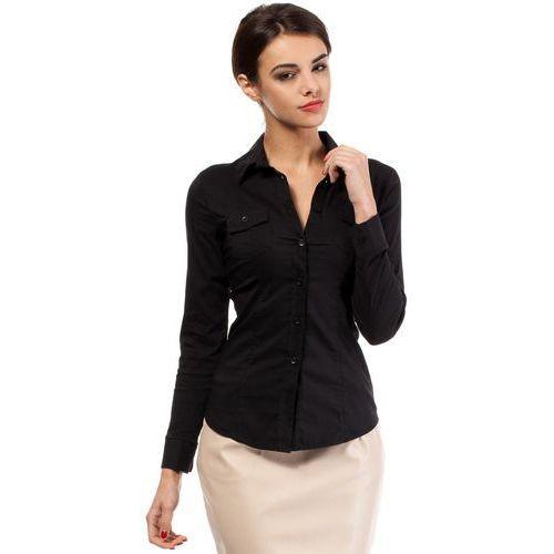 Czarna Klasyczna Taliowana Koszula z Długim Rękawem, kolor czarny