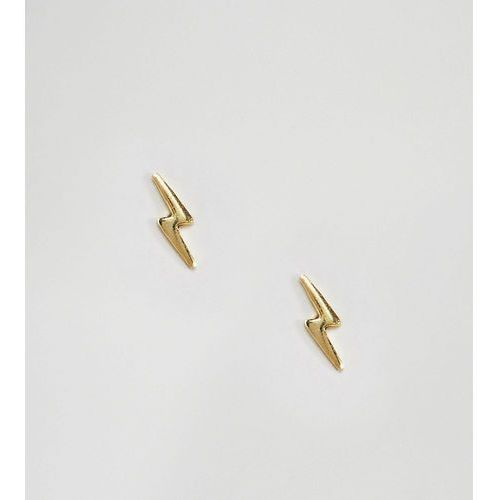 gold plated lightening bolt stud earrings - gold marki Kingsley ryan