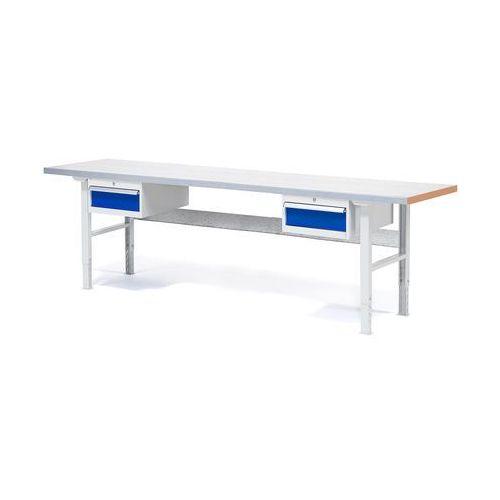 Stół warsztatowy Solid, zestaw z 2 szufladami, 500 kg, 2500x800 mm, stal, 232130