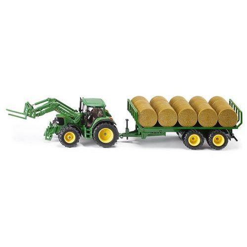 Siku farmer 3862 traktor john deere z przyczepą na bele siana 52 cm 1:32