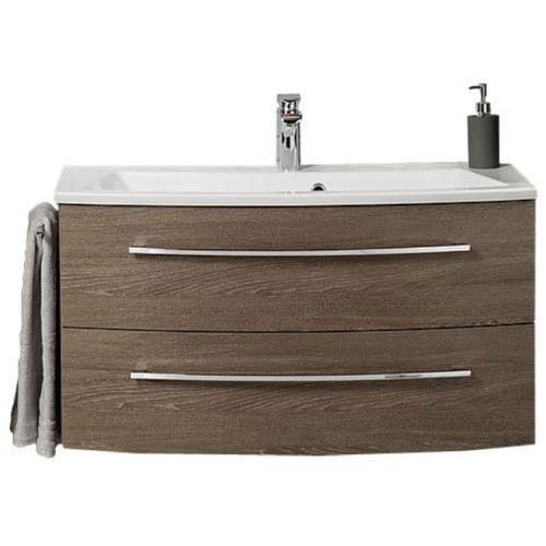 Fackelmann Szafka łazienkowa z umywalką 100 rondo - koniakowy dąb \ 100 cm