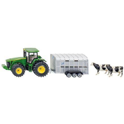 Siku Zabawka  farmer traktor john deere 8430 z przyczepą do przewozu zwierząt (4006874019564)