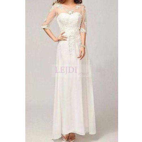 Suknia ślubna z perłami i gipiurowym haftem od producenta Lejdi