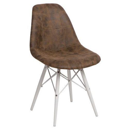 Krzesło p016w pico białe drewniane nogi (ciemnobrązowe) d2 marki D2design