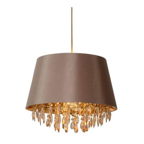 DOLTI - Lampa wisząca Szarobrązowy/Złoty Przezroczyste kryształy Ø45cm, 78368/45/41
