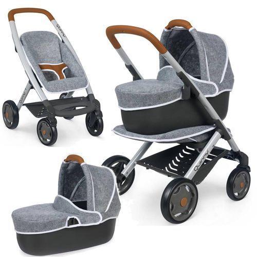 Smoby Wózek głęoboki dla lalek 3w1 Maxi Cosi Quinny filcowy Gondola Spacerówka (3032162531044)