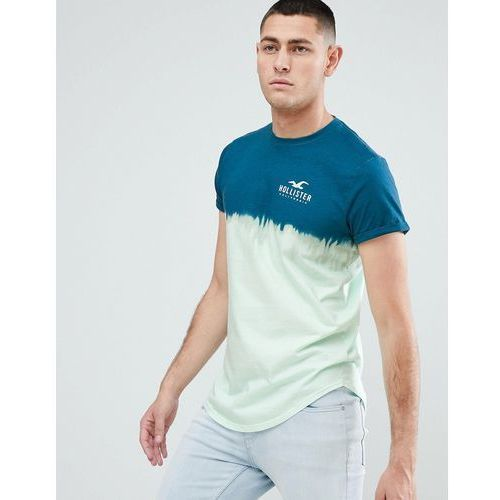 ombre wash front and back logo print t-shirt curved hem in blue to green - blue marki Hollister