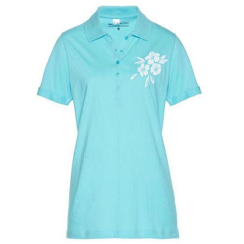 Shirt polo morsko-biały, Bonprix, 44-46