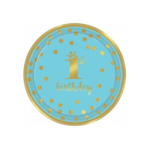 Talerzyki błękitno-złote na roczek - 18 cm - 8 szt. (0013051760328)