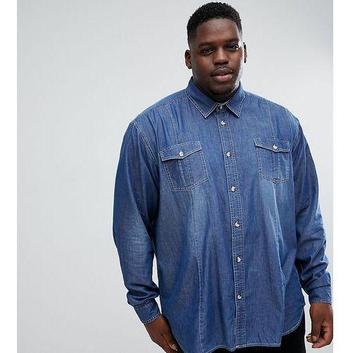 Duke King Size twin pocket long sleeve denim shirt in blue - Blue