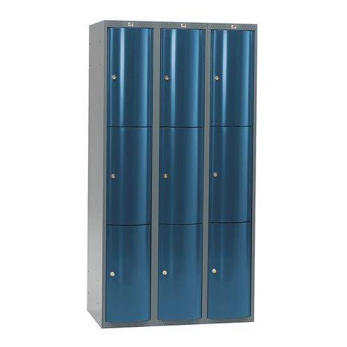 Aj Szafa szatniowa curve 4 sekcje 12 drzwi 1740x1200x550 mm niebieski meta
