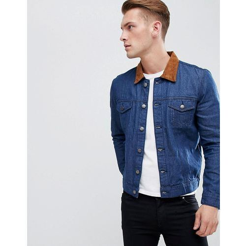 denim jacket with faux suede collar in blue wash - blue, Boohooman