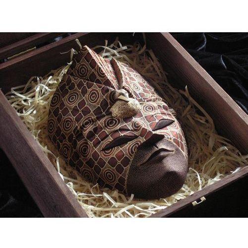 Dekoracyjny Prezent RZEŹBA Egzotyczna Maska GODNOŚCI Z PAWIEM