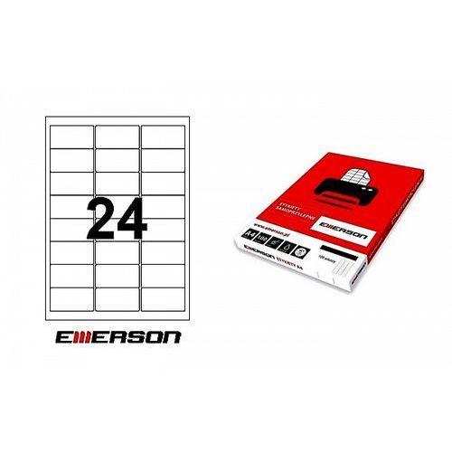 Etykiety samoprzylepne Emerson 64x33,8mm białe nr 005, 100ark. A4