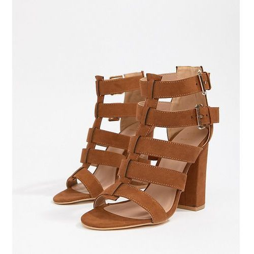 wide fit multi strap block heel sandal - brown marki New look