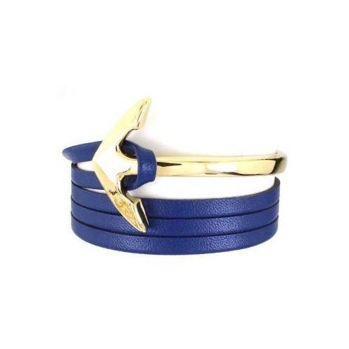 bransoletka rzemyk z kotwicą do zegarka skórka niebieska b365, B365GRAN
