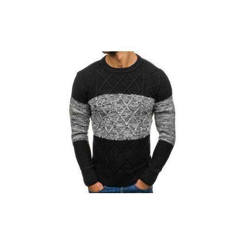 Sweter męski we wzory czarny denley 790, Roy garage