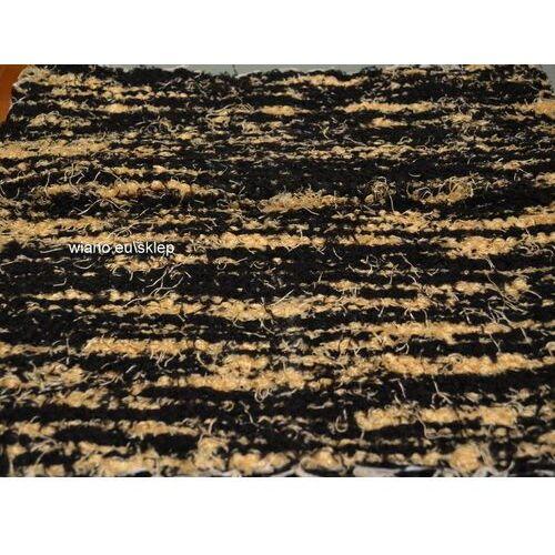 Twórczyni ludowa Chodnik bawełniany (wycieraczka) ręcznie tkany czarno-złocisto żółty 65x50