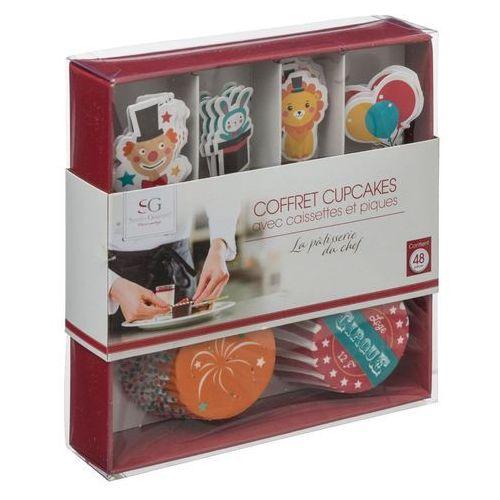 Zestaw do dekorowania muffinek, mini-babeczki, 48 elementów - Cyrk