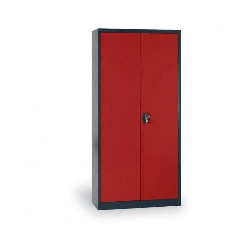 Alfa 3 Szafa metalowa, 1950x1200x400 mm, 4 półki, antracyt/czerwony