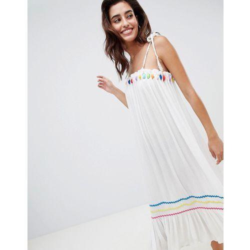 River Island multi colour pop beach midi dress - White