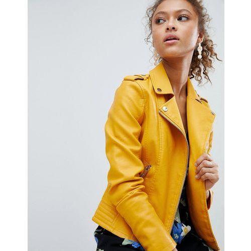 Miss Selfridge Leather Look Biker Jacket - Yellow, skóra