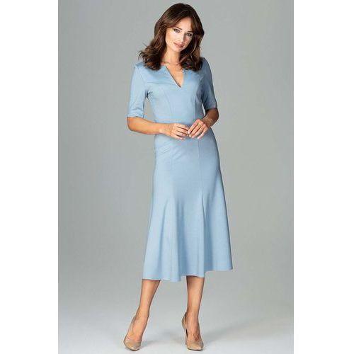 1d2e602fec6cfa Niebieska Koktajlowa Sukienka Midi z Wyc... Producent Katrus; Rodzaj  koktajlowa ...
