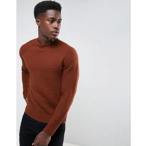 chunky stitch knit jumper - brown marki Threadbare