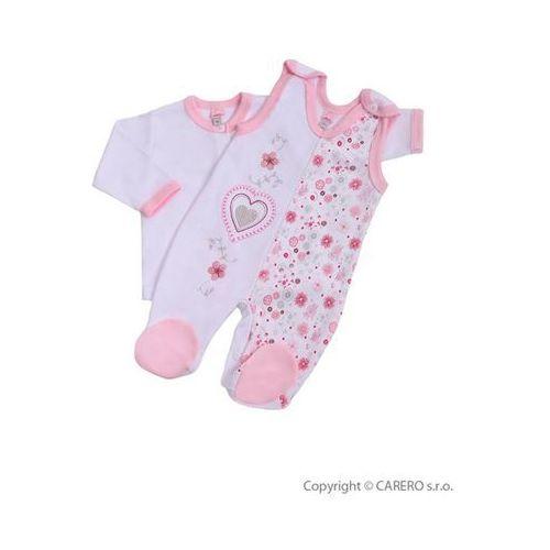 2-częściowy bawełniany komplet Bobas Fashion Beti II różowy z szarymi serduszkami