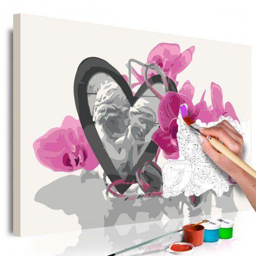 Artgeist Obraz do samodzielnego malowania - aniołki (serce i różowa orchidea)
