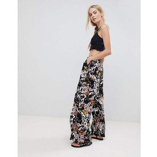Free people late night printed wide leg trousers - black