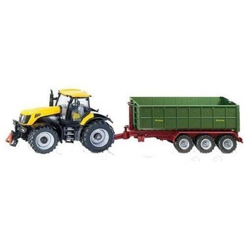 , traktor jcb z przyczepą, model marki Siku