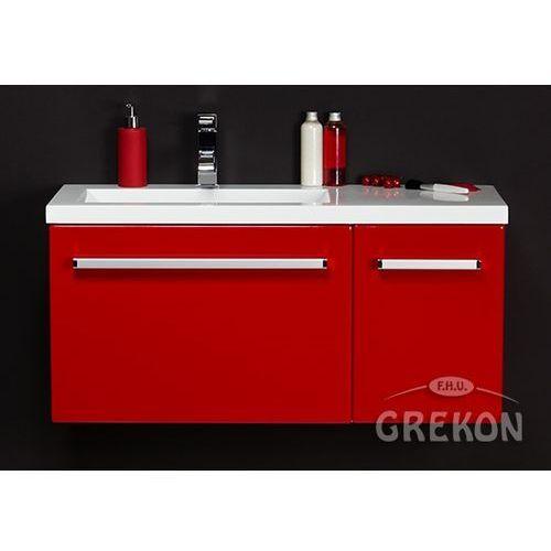 Czerwona szafka wisząca z umywalką 90/39L seria Fokus CZ
