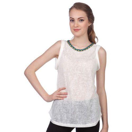 koszulka bez rękawów damska agnes l kremowy marki Brave soul